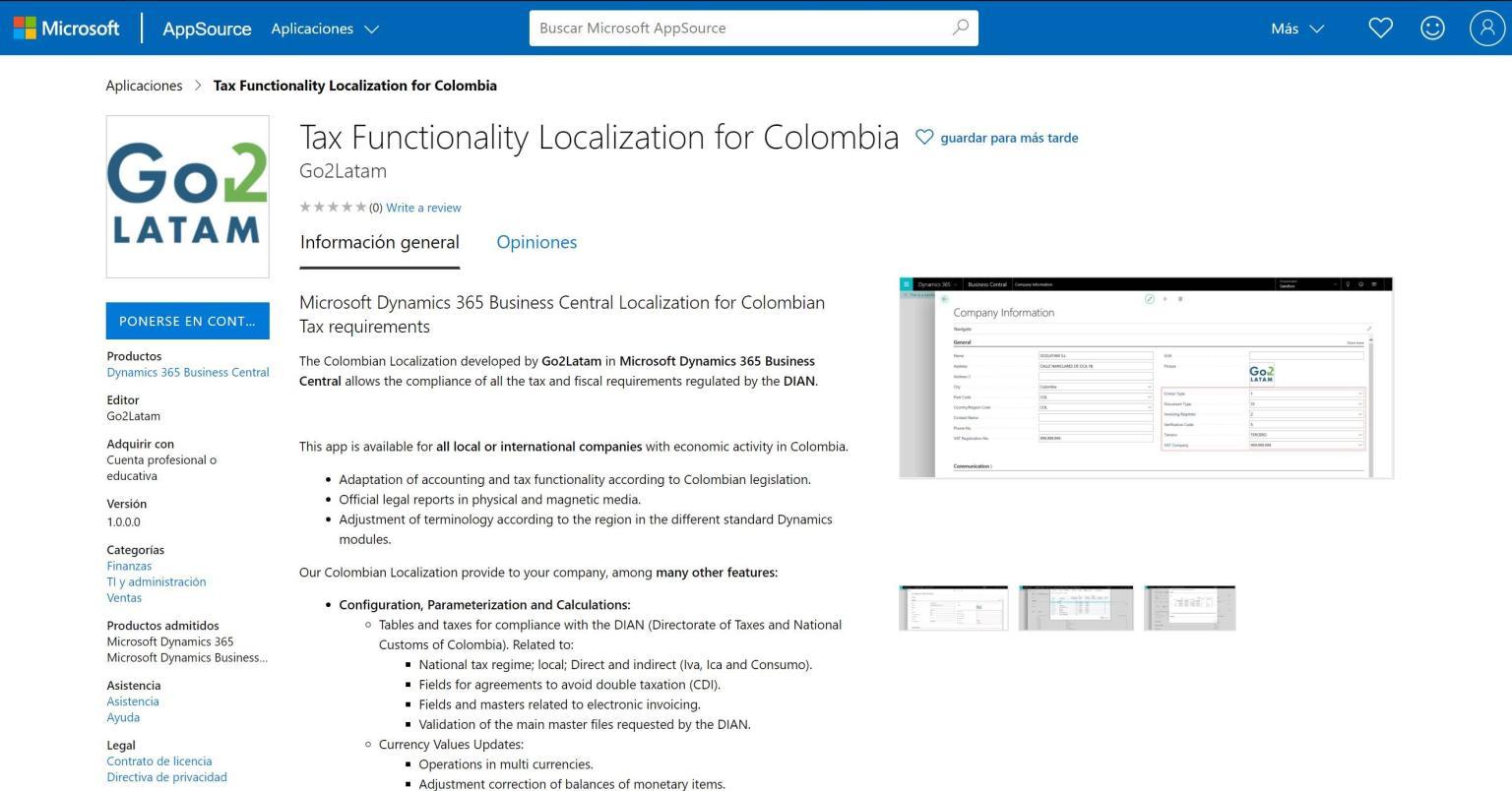 disponible localización Colombia